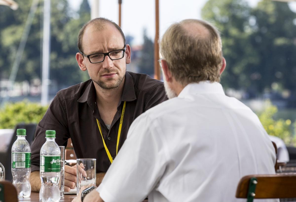 Im Gespräch mit Peter Agre. Foto: Christian Flemming/Lindau Nobel Laureate Meeting